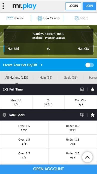 Man United vs Man City mobile markets on mrplay