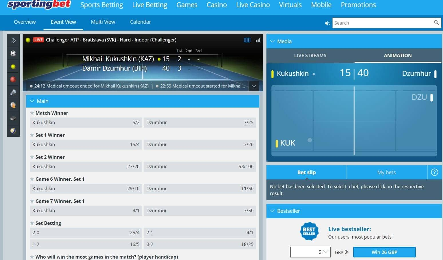 'Sportingbet in-play area and tennis markets'
