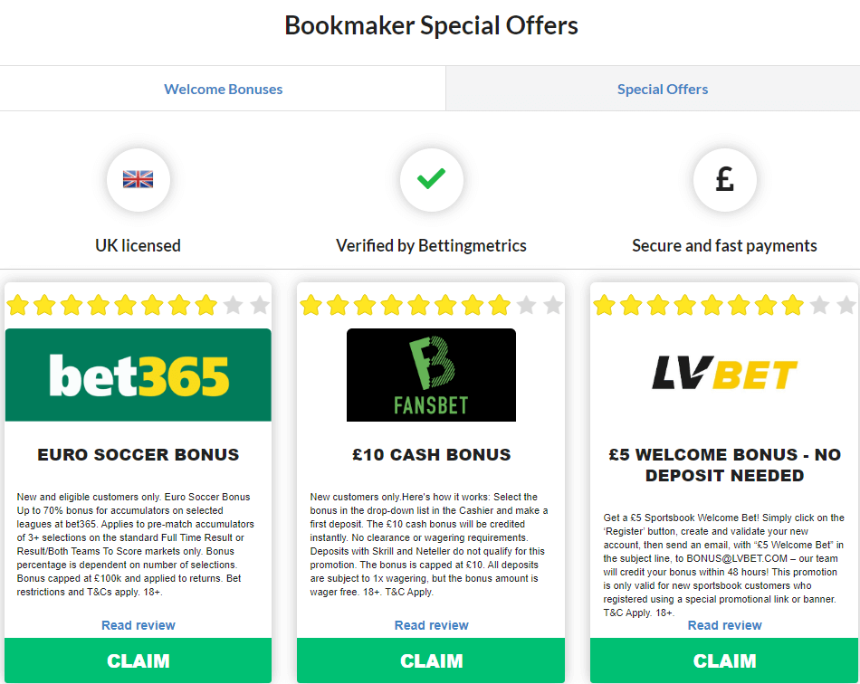 Week 16 special bookmaker offers by Bettingmetrics