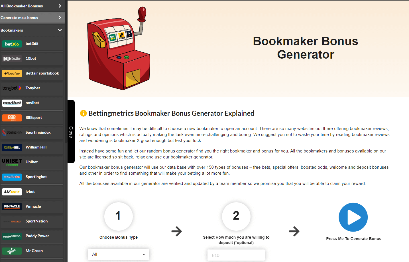 bookmaker bonus generator by bettingmetrics